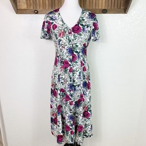 Vintage 90s Floral Button Up Flutter Sleeve Dress